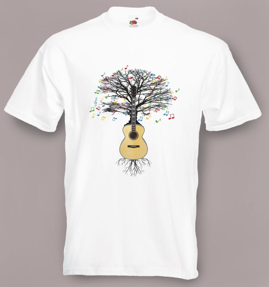 acoustic guitar t shirt musical guitar tree in sizes small to xxl ebay. Black Bedroom Furniture Sets. Home Design Ideas