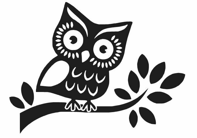 OWL ON A BRANCH DECAL WINDOW CAR LAPTOP STICKER CHOOSE ...