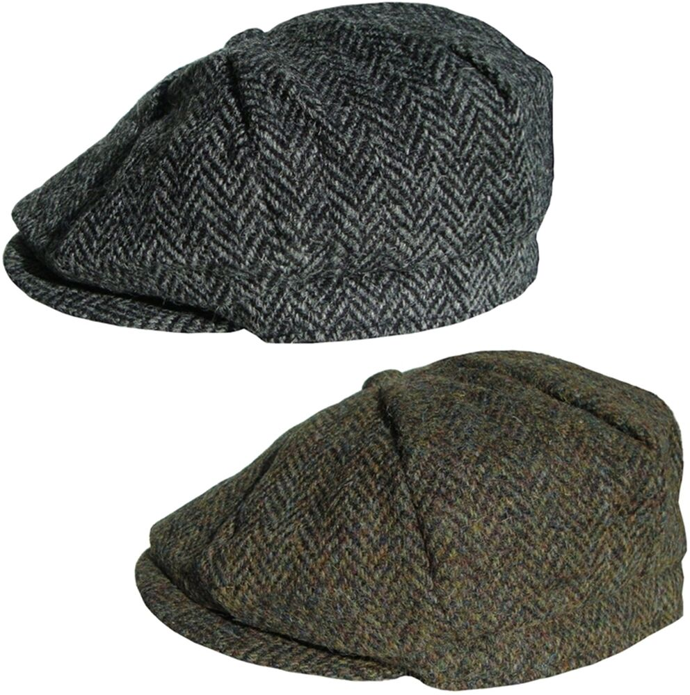 Mens Harris Tweed Bakerboy Cap Country Style Flat Caps