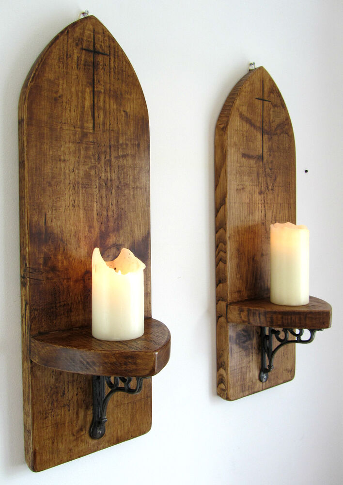 Wall Candle Sconces Wood : 2X LARGE 70CM GOTHIC ARCH RUSTIC RECLAIMED SOLID WOOD WALL SCONCE CANDLE HOLDER eBay