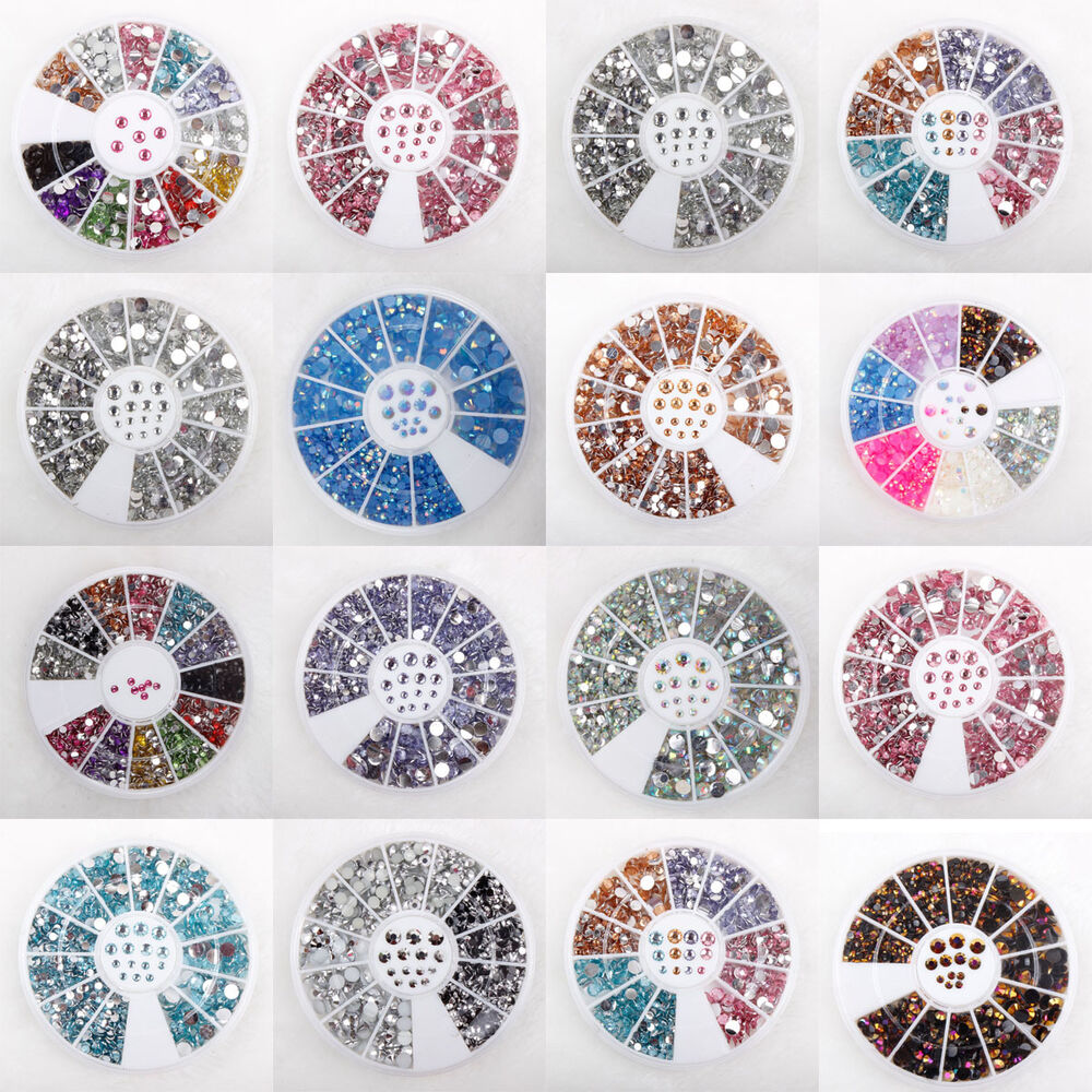 Choose 20 Nail Art Face Festival Wheels Rhinestones Pearls