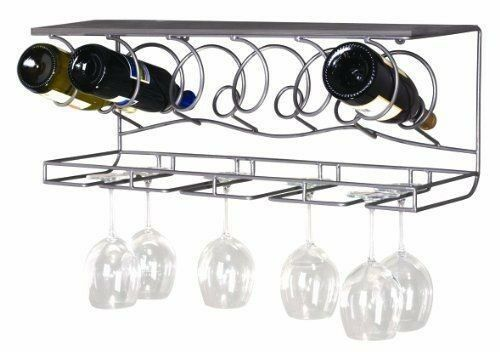 Metal Wall Mounted Wine Glass Rack 6 Bottle Holder Kitchen
