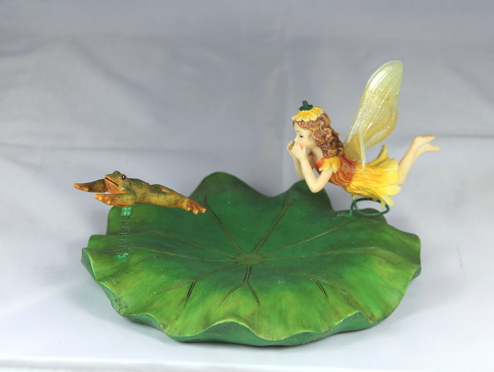 floating lily with fairy frog garden pond ornament