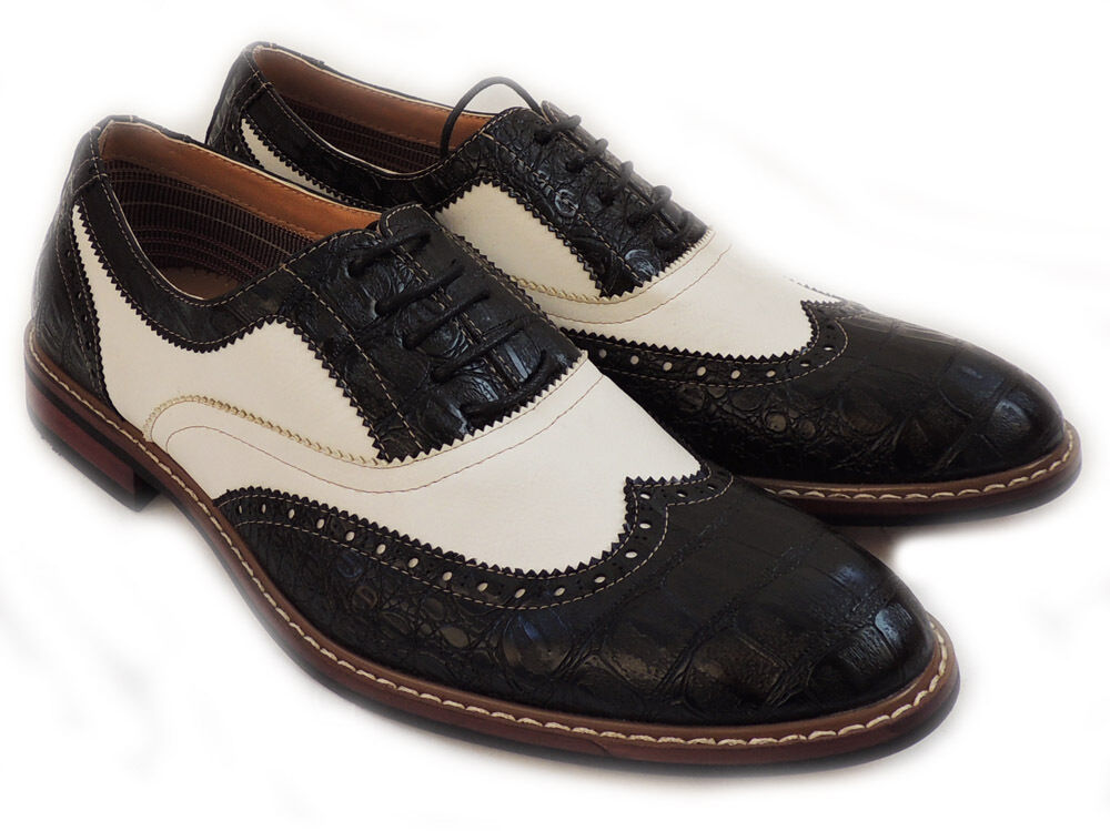 new fashion mens lace up wingtip oxfords alligator leather