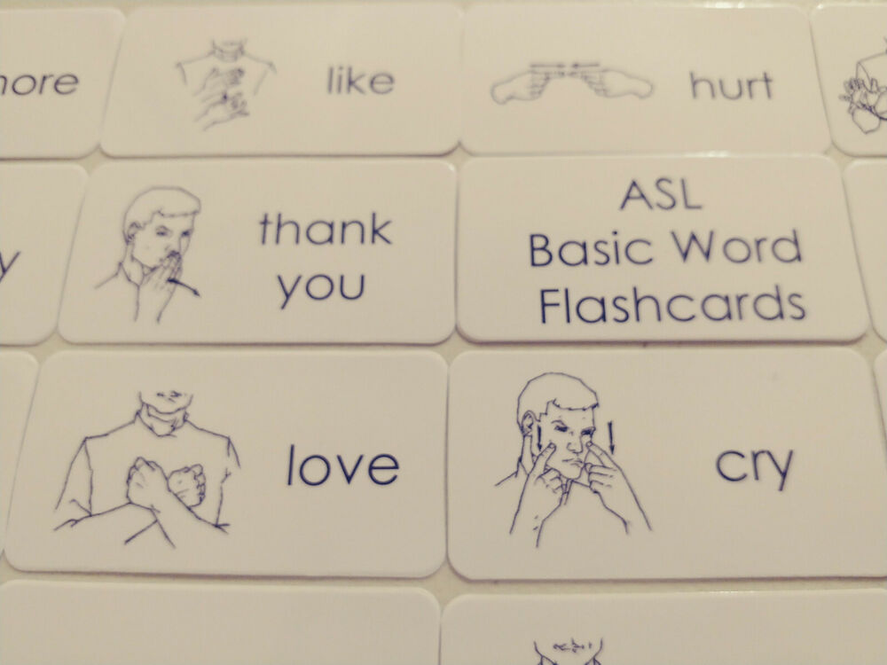 New 75 American Sign Language Word Flash Cards. Learn American Sign @DV28