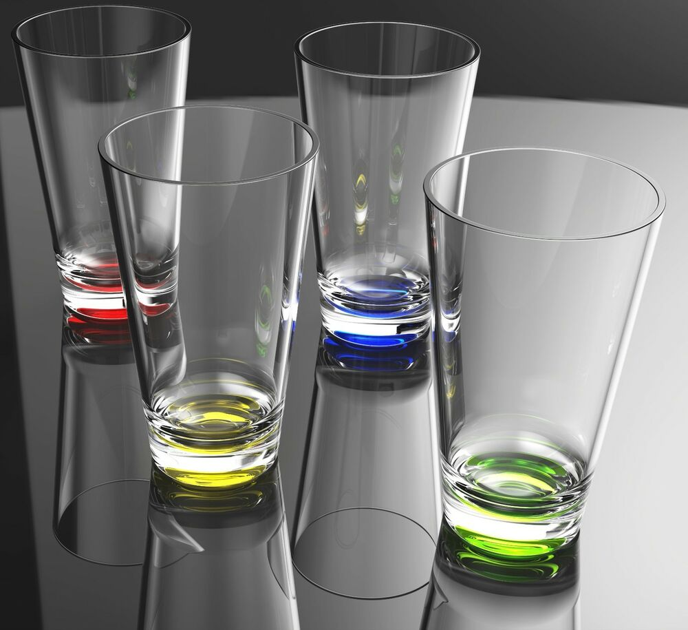 Qg 8 pc 23 oz clear w color base acrylic plastic cup for Glass or acrylic