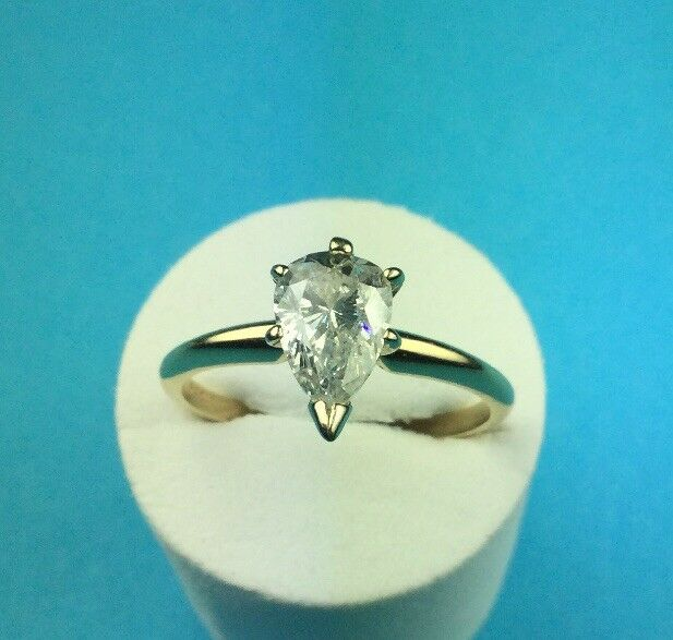 Pear Shaped Diamond Solitaire Engagement Ring Sz 6 1/2. 1