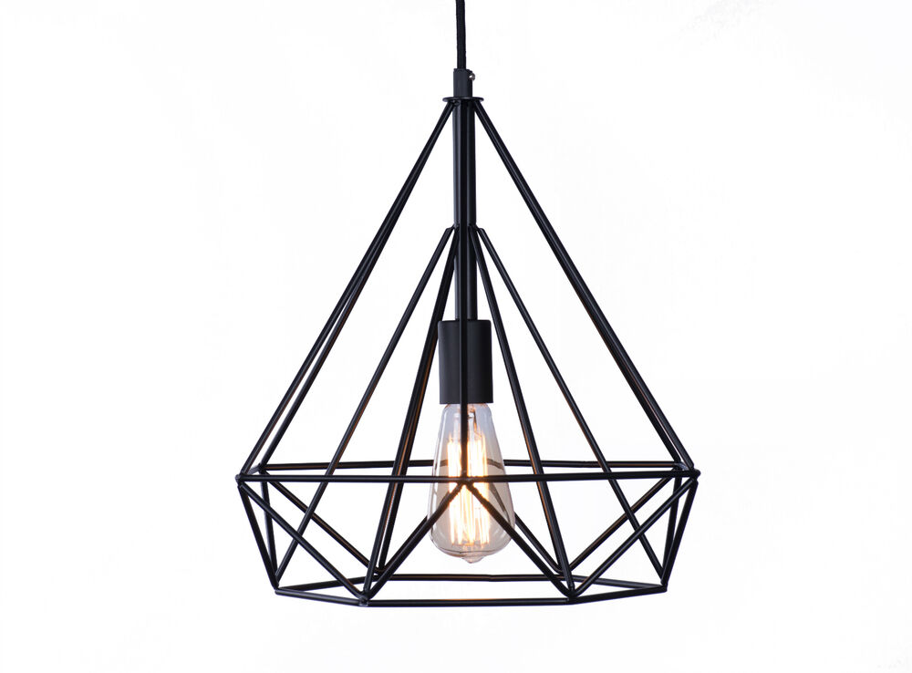 vintage industrial style wrought iron diamond pendant. Black Bedroom Furniture Sets. Home Design Ideas