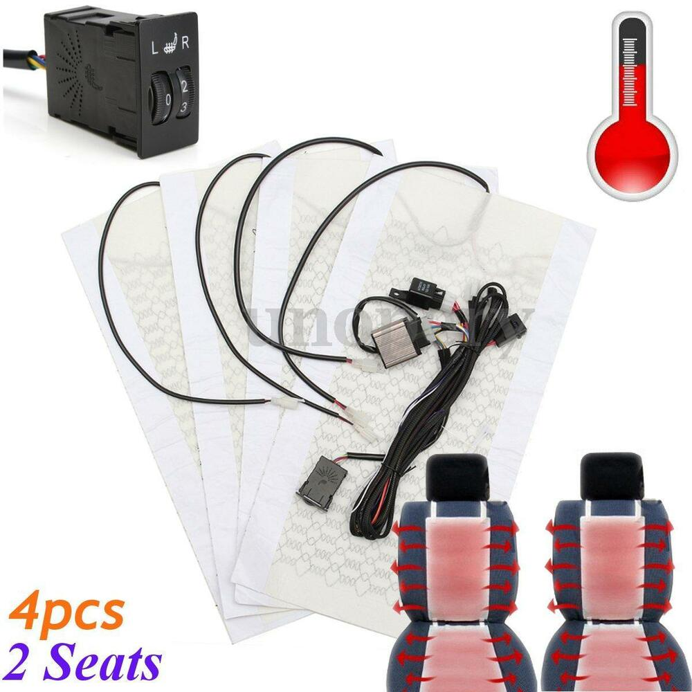 Universal Car Heated Seat Kit 2 Dial 5 Level Switch Seat: 2 Seat 4Pad 12V Carbon Fiber Heated Seat Heater Pad