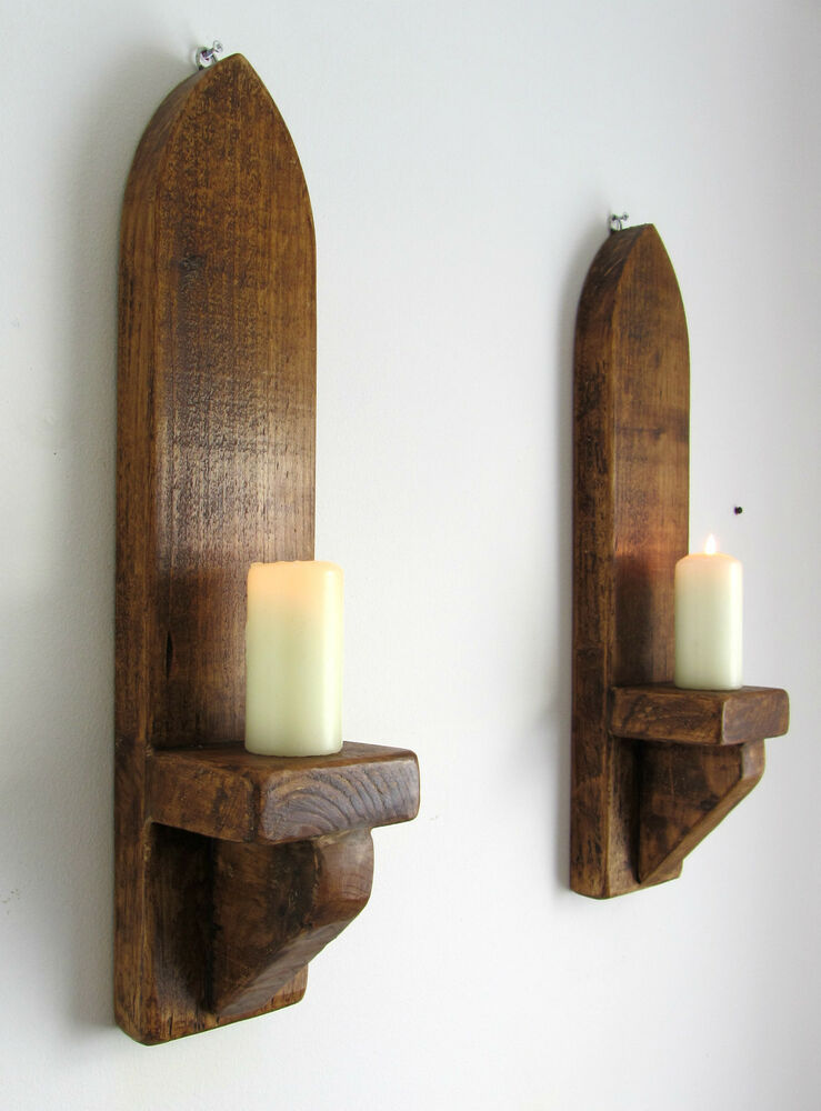 Wall Sconces For Wax Candles : PAIR OF 53CM RUSTIC SOLID WOOD ANTIQUE WAX GOTHIC ARCH WALL SCONCE CANDLE HOLDER eBay