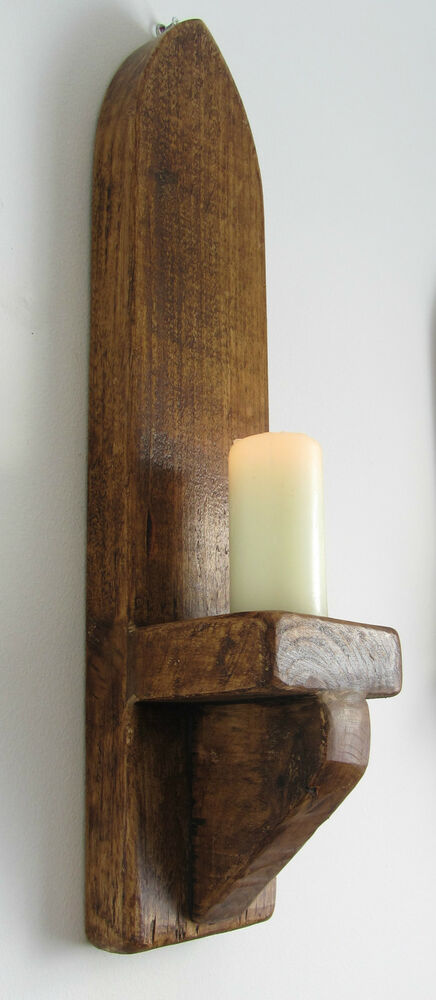 Rustic Wall Sconce Candle Holder : 53CM RUSTIC SOLID WOOD ANTIQUE WAX GOTHIC ARCH WALL SCONCE CANDLE HOLDER eBay