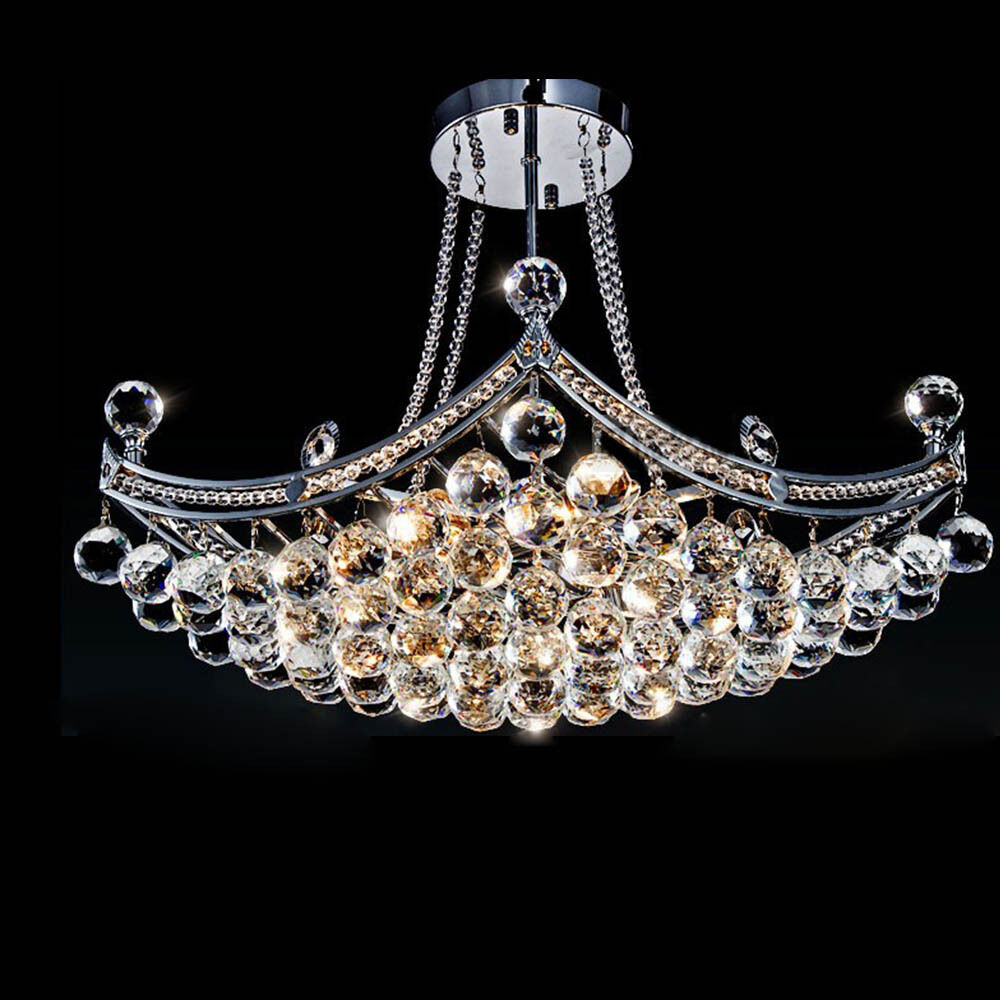 Industrial Crystal Glass Chandelier Ceiling Light Fixture