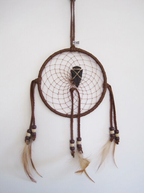 Handcrafted large leather wrapped dreamcatcher with for Dreamcatcher beads meaning