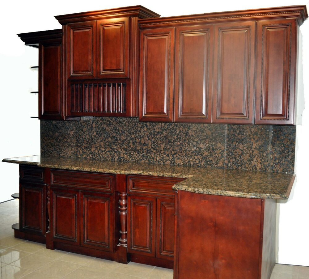 Kitchen Cabinets Used For Sale: Showroom Cherry Rope Kitchen Cabinets And Granite Top For