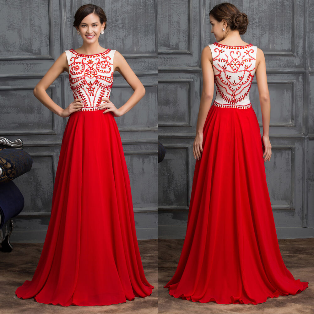 Vintage Red Chiffon Evening Party Dress Wedding Gowns