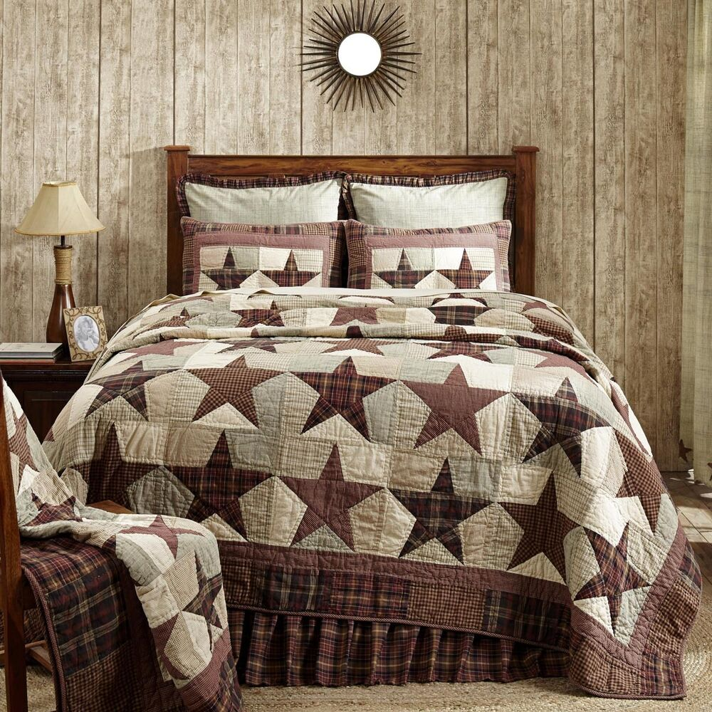 Abilene star 100 cotton quilt king or queen size tan for Decorative bed quilts