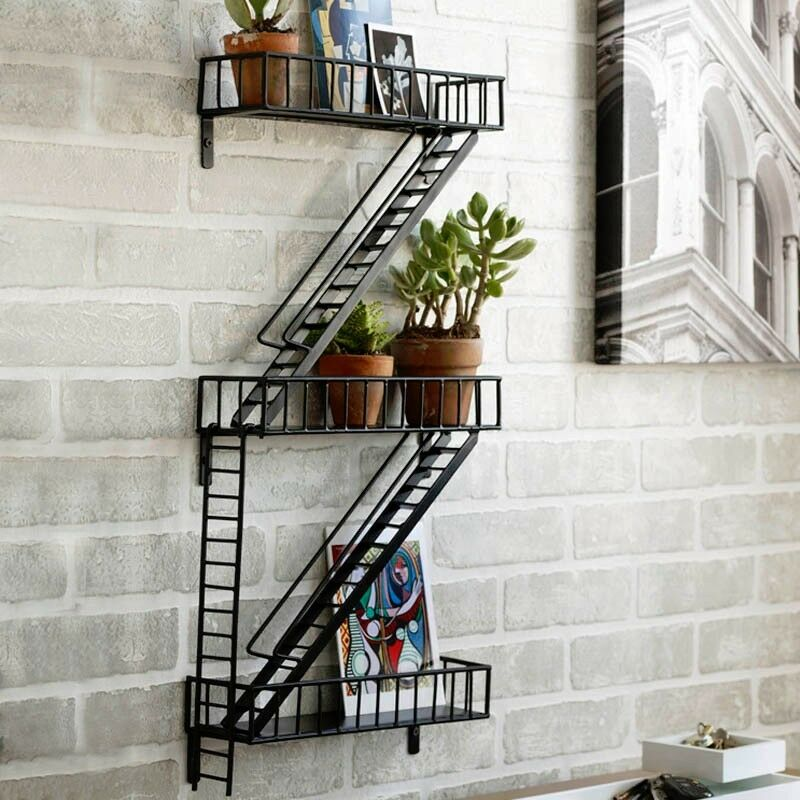 Fire Escape Modern Home Ladder Wall Decor Shelf Plant