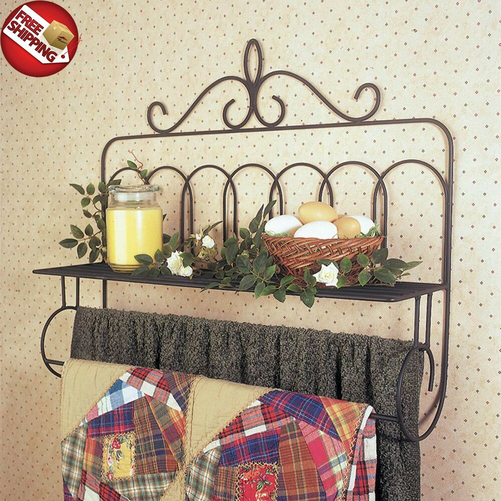 Vintage Quilt Rack Hanger Towel Holder Shelf Wall Mounted
