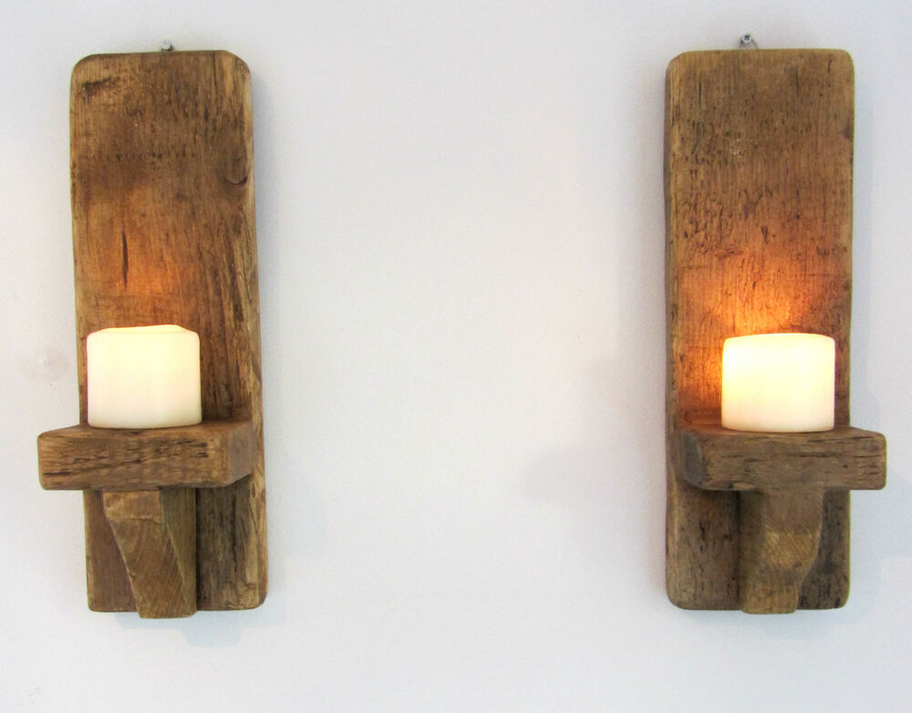PAIR OF 45CM RUSTIC SOLID WOOD HANDMADE SHABBY CHIC WALL SCONCE CANDLE HOLDER eBay