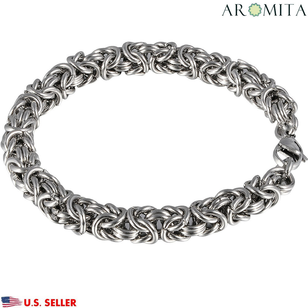 Men 39 s women 39 s stainless steel byzantine braided chain for Biker jewelry stainless steel