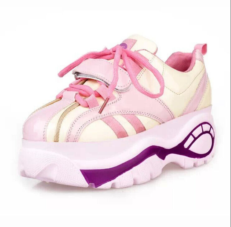 womens korean mixed color running shoes lace up high heel