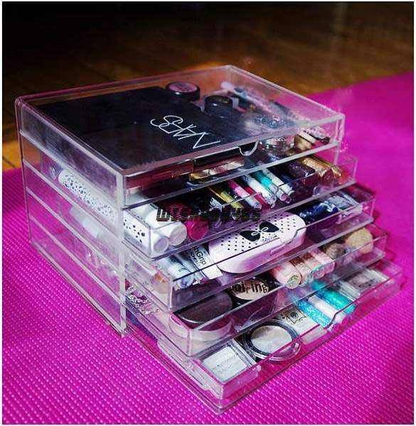 Acrylic Box Organiser : Clear makeup case drawers cosmetic organizer jewelry