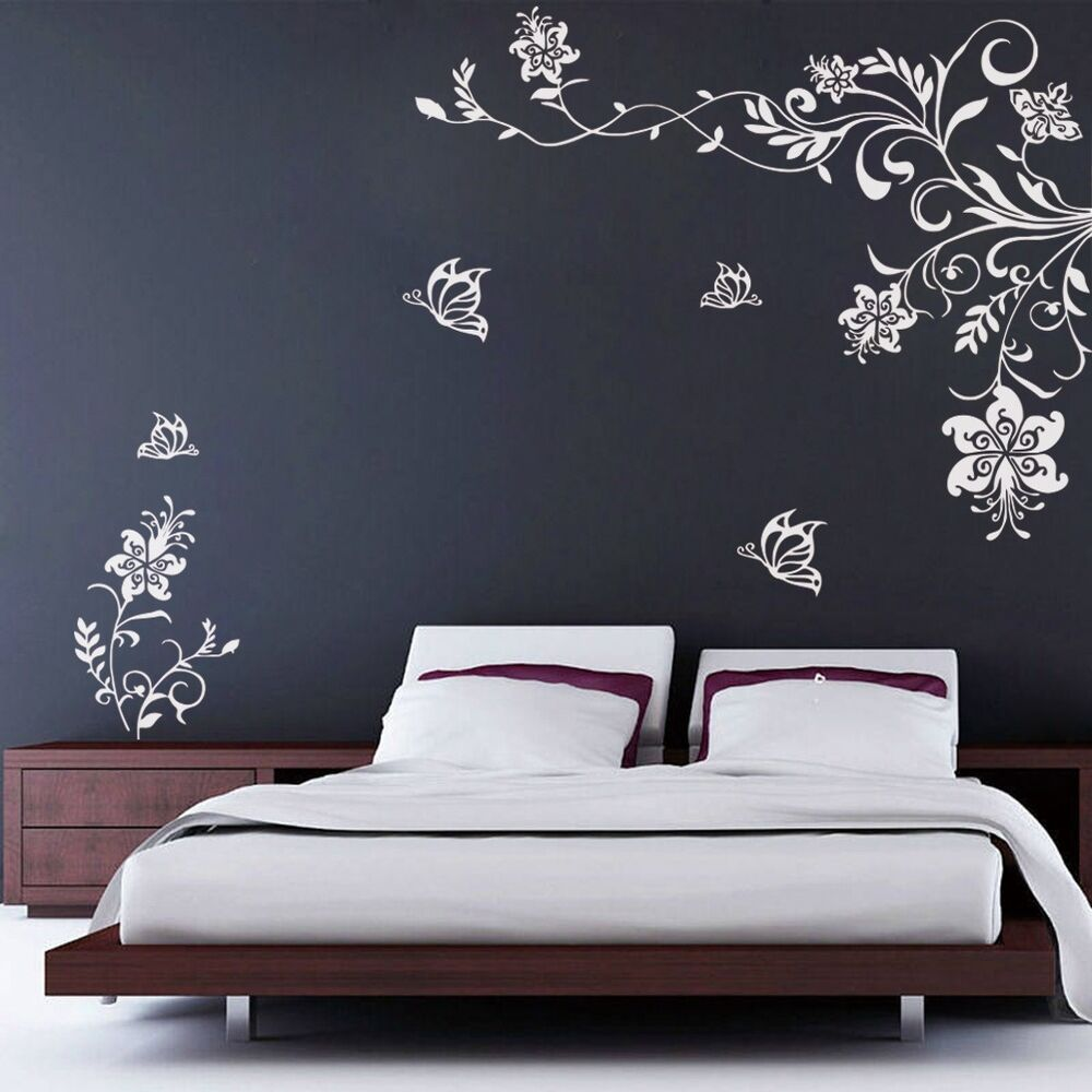 Butterfly Vine Flower Wall Decals Vinyl Art Stickers Living Room Mural Decor Ebay