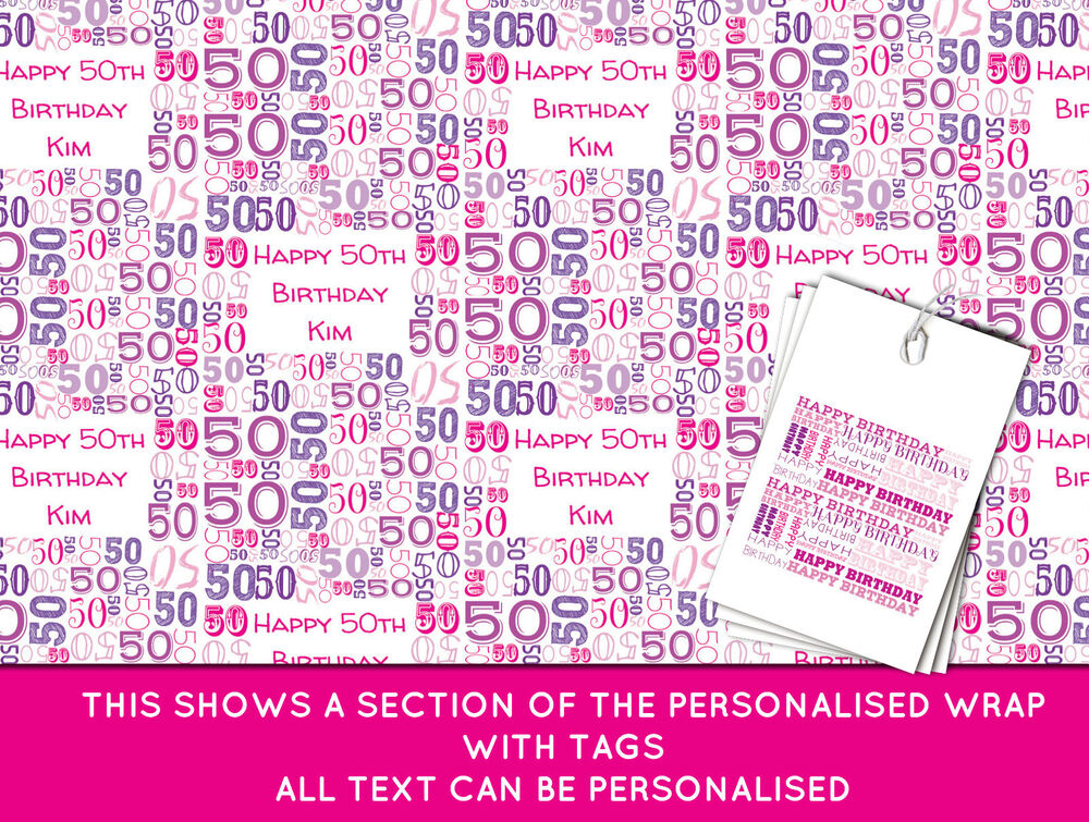 Personalised Happy 50th Birthday Wrapping Paper Pink