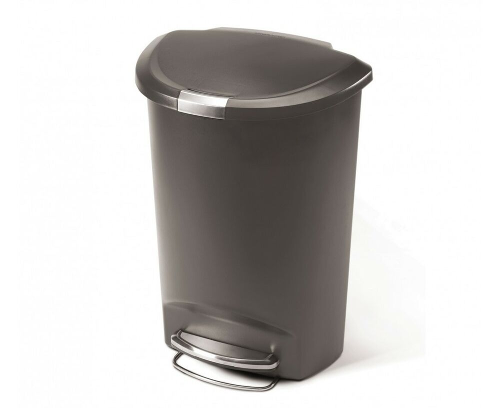 simplehuman 50 litre plastic semi round step trash can grey ebay. Black Bedroom Furniture Sets. Home Design Ideas