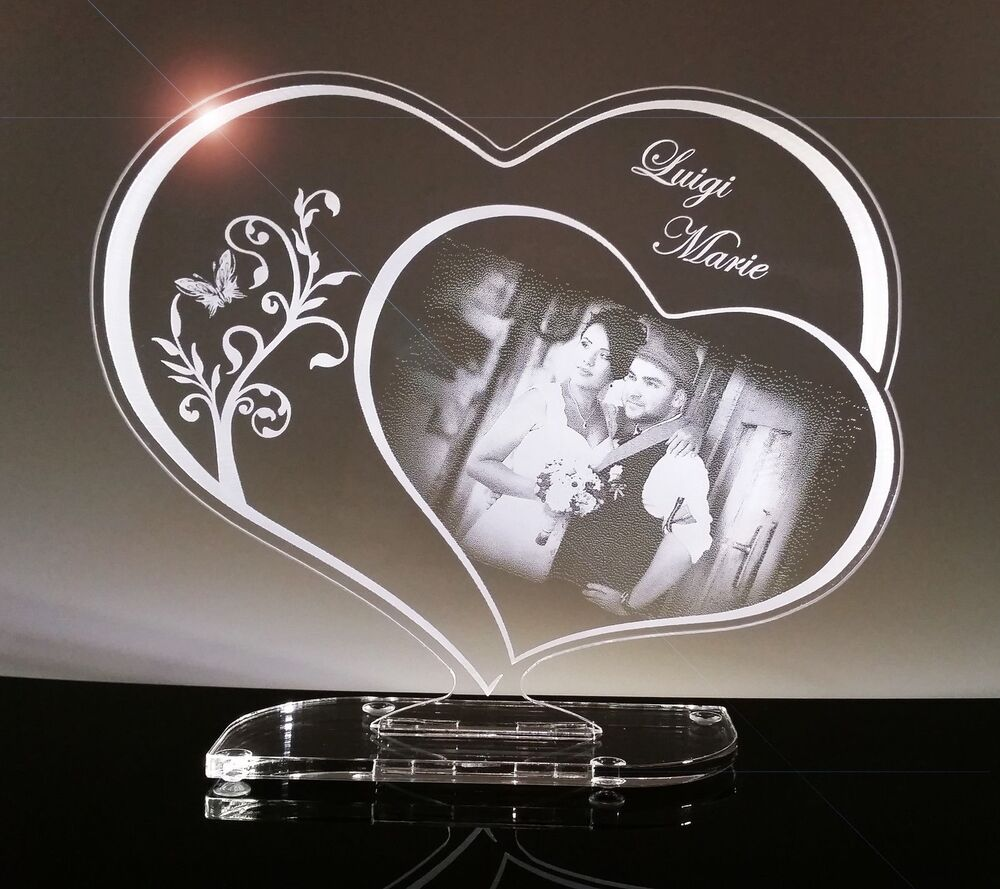 acryl schild herz geschenk mit fotogravur gravur lasergravur ebay. Black Bedroom Furniture Sets. Home Design Ideas