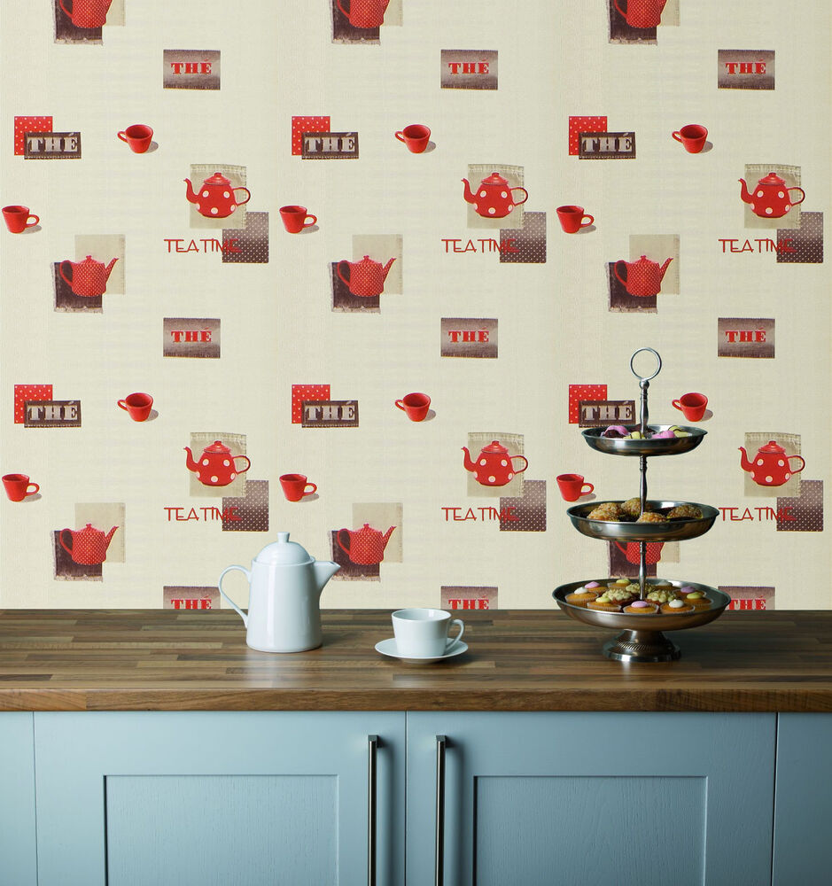 Red teapots cups on a cream background washable kitchen for Kitchen wallpaper uk