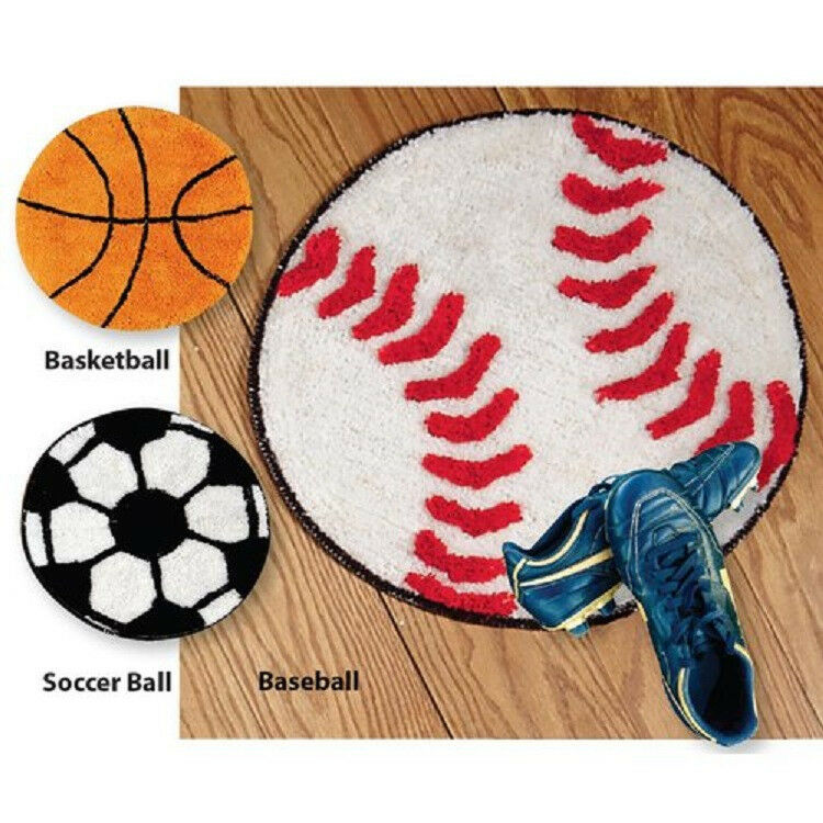 "Sports Throw Rug WASHABLE Anti-Skid Back 20"" D Basketball"