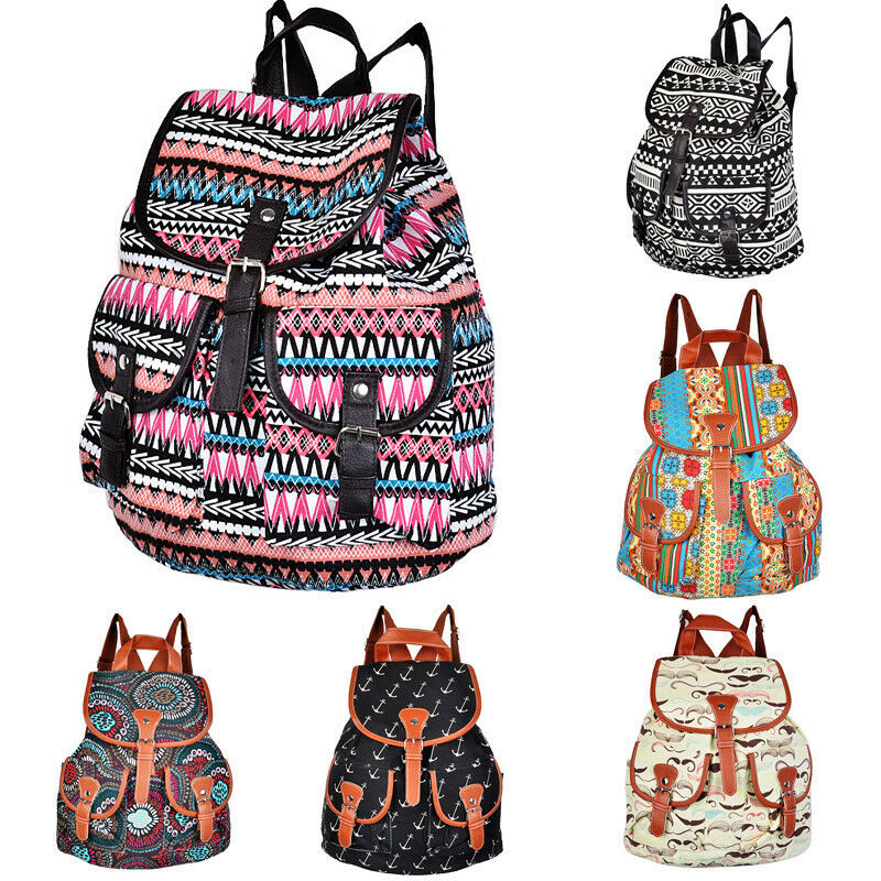 Women's Vintage Canvas Travel Rucksack School Bag Satchel Bookbags ...