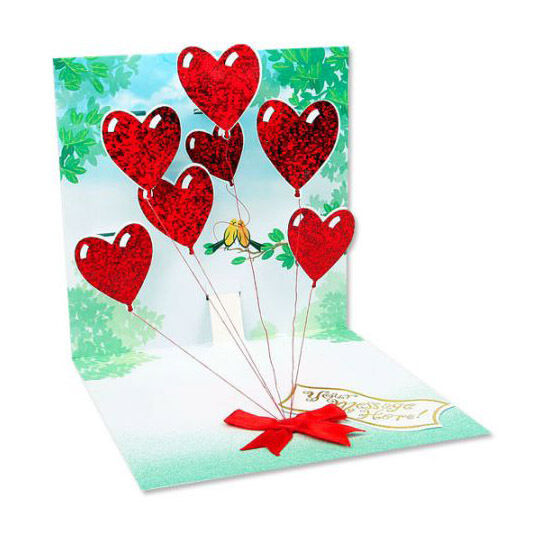 3d Heart Balloons Pop Up Greeting Card Up With Paper 618