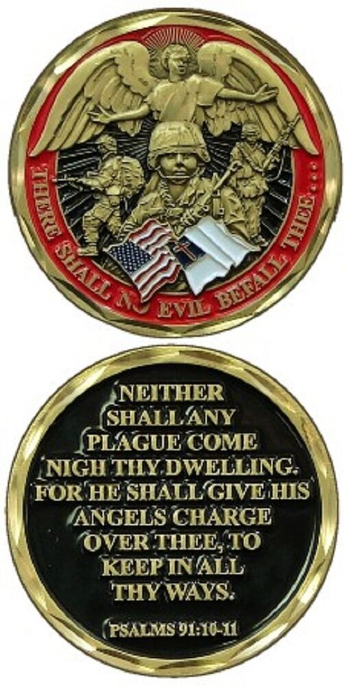 There Shall No Evil Befall Thee Psalms 91 10 11 Challenge Coin 2465 Ebay