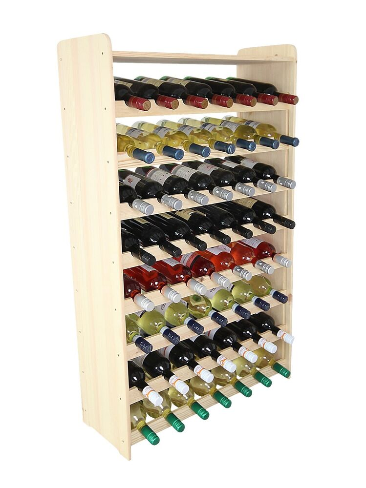 weinregal flaschenregal weinschrank f r 56 flaschen holzregal flasche massiv 56b 736842653066 ebay. Black Bedroom Furniture Sets. Home Design Ideas