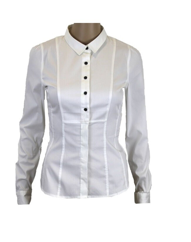 Ladies h m long sleeve white school work office shirt for White cotton work shirts