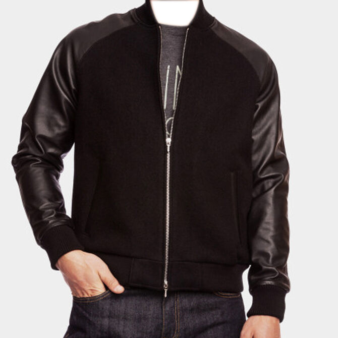 Varsity Letterman Wool Jacket With Leather Sleeves And
