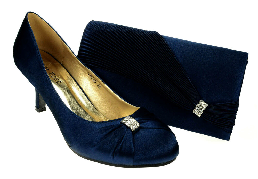 Womens Navy Blue Wedding Prom Evening Shoes Amp Matching Bag