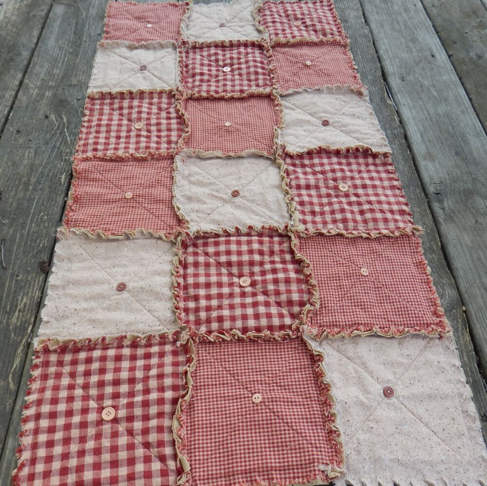 Homespun Country Primitive Red Table Rag Quilt Runner