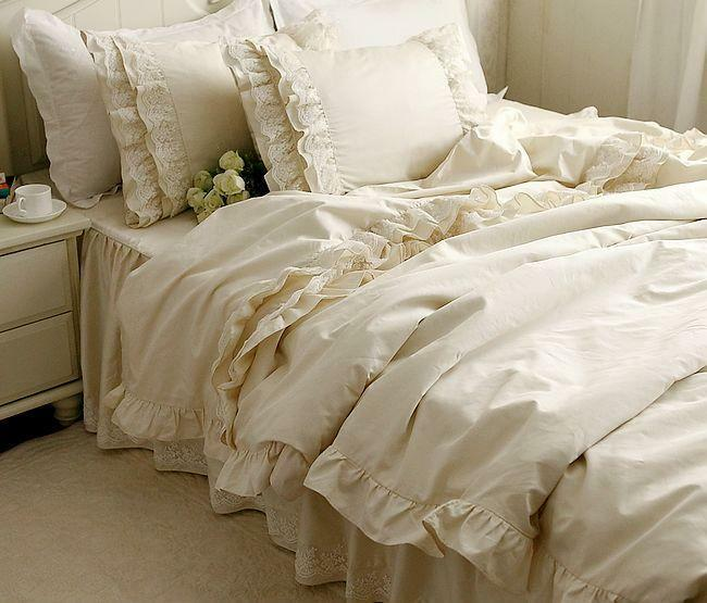 Embroidery lace ruffle satin cotton duvet cover bedding set ebay