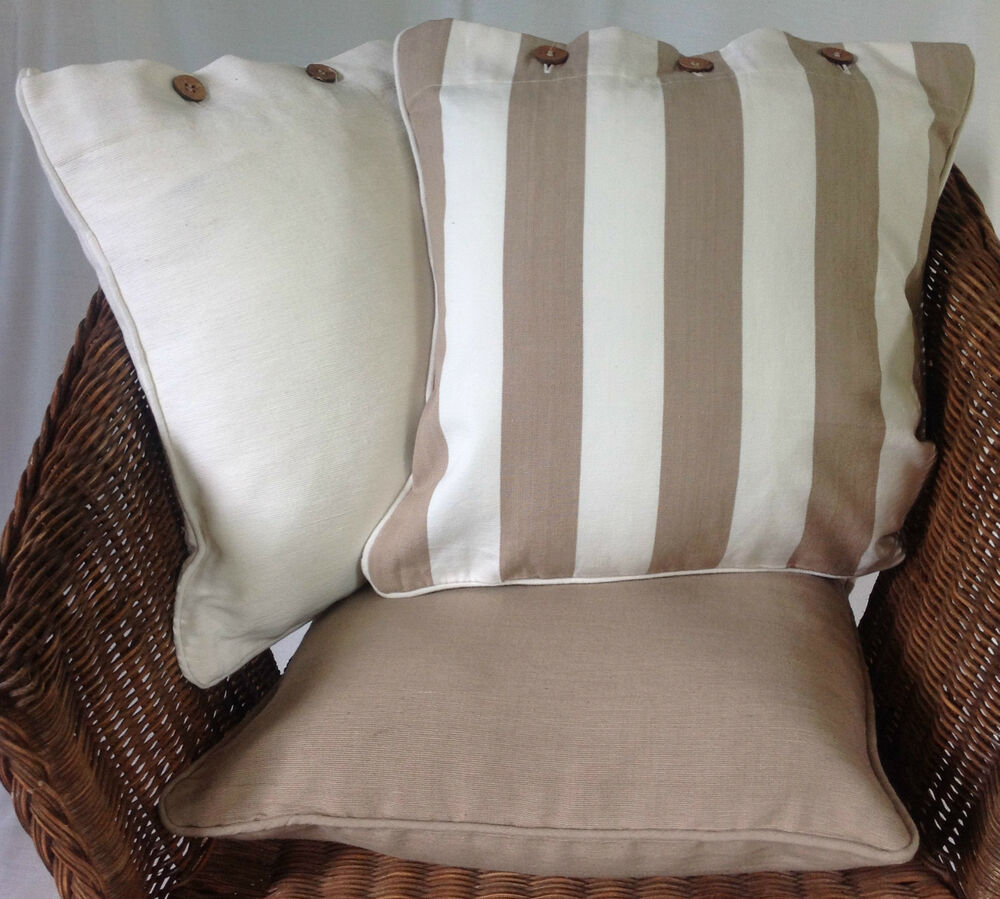 Throw Pillows Beige Couch : Beige Stripe Off White Cushion Covers X 3 Neutral Cotton Pillow Case Throw Sofa eBay
