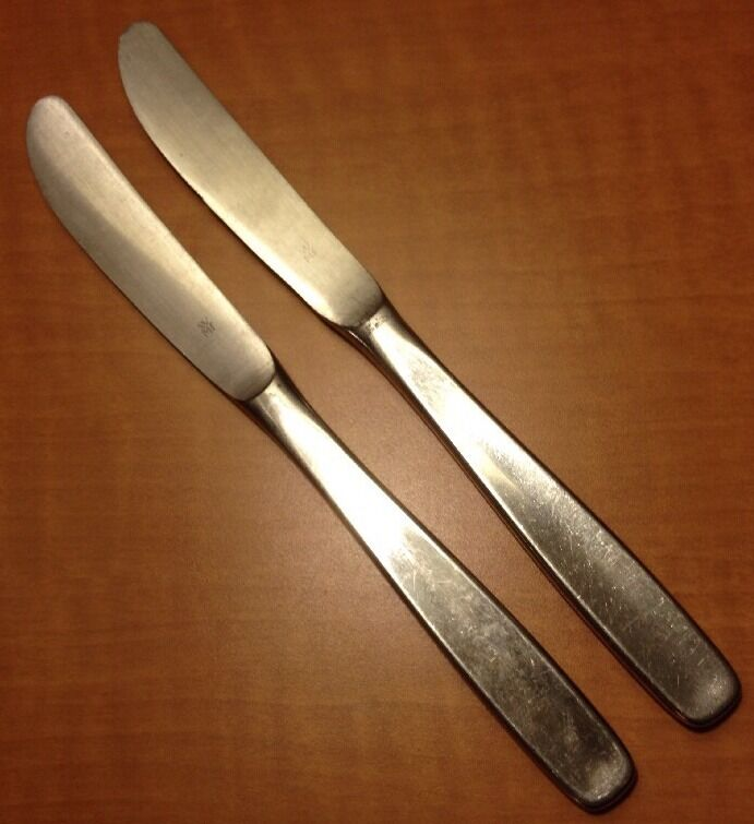 wmf william fraser line serrated dinner knives 2 stainless flatware germany ebay. Black Bedroom Furniture Sets. Home Design Ideas