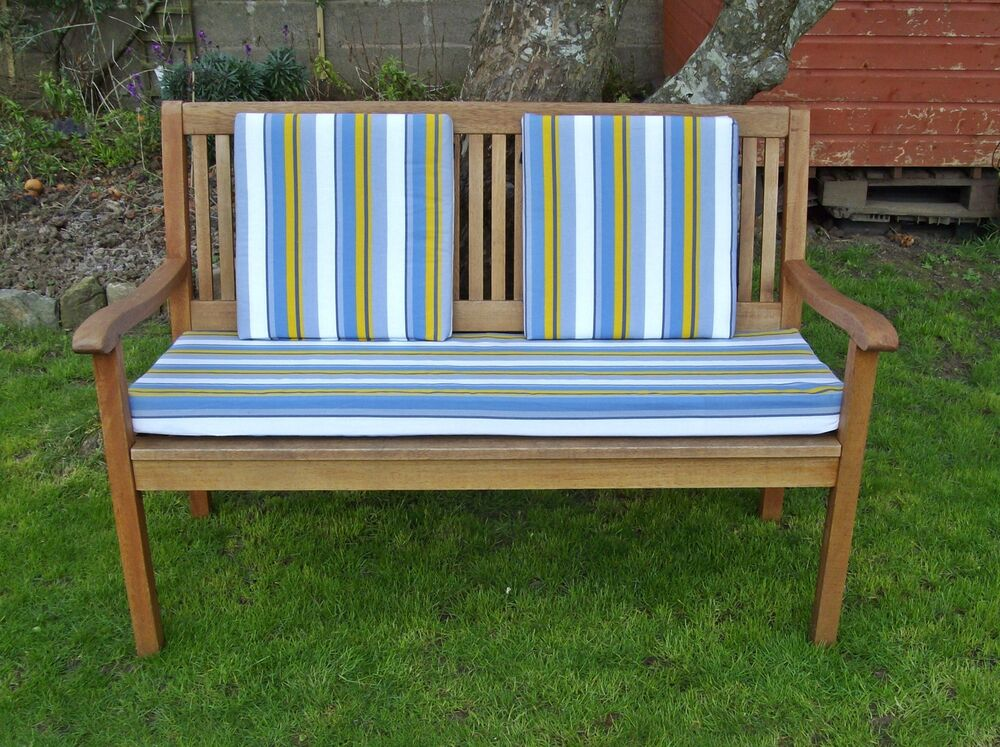 Garden bench cushion with without back pads blue for Outdoor furniture without cushions