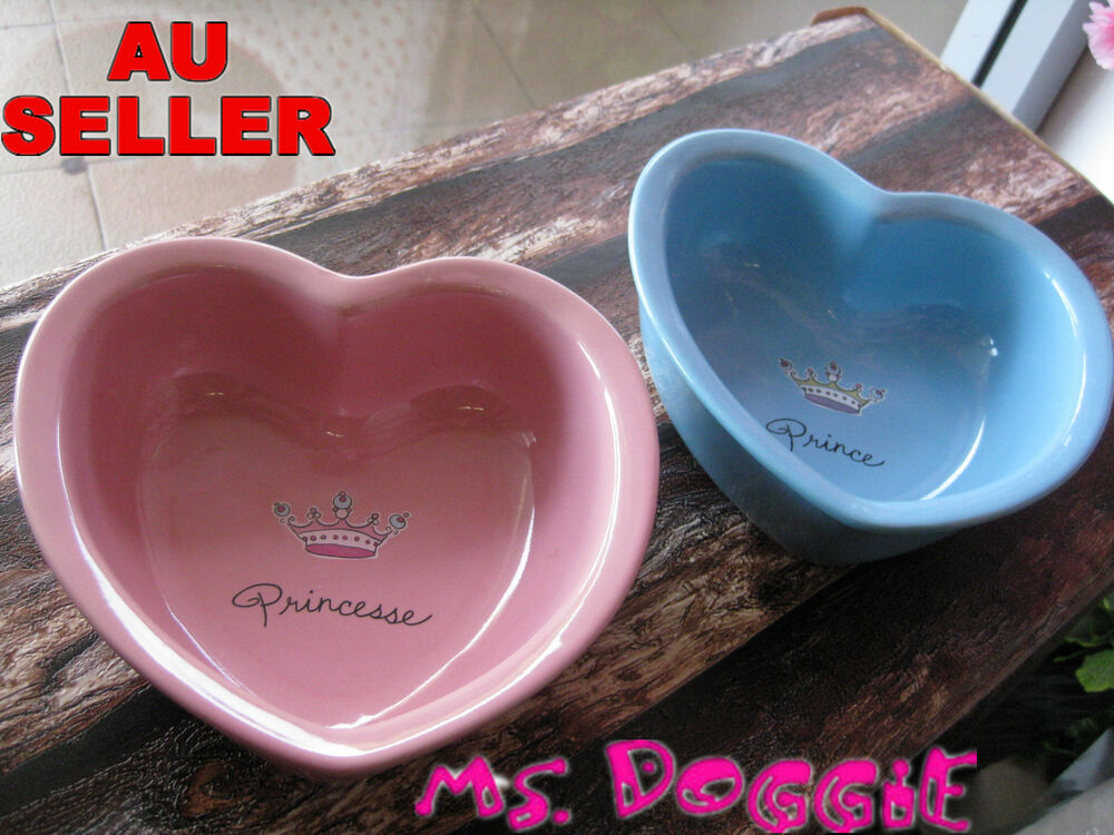 Heart Shape Princess Amp Prince Bowl Pet Dog Cat Ceramic