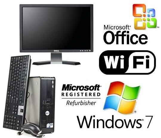 complete 19 dell core 2 duo sff desktop pc 4gb 500gb windows 7 wifi ms office ebay. Black Bedroom Furniture Sets. Home Design Ideas