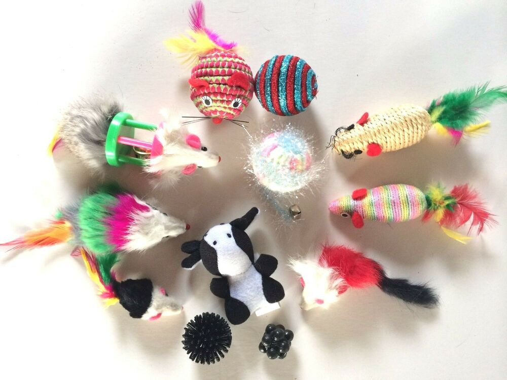 Cat Toy Mice Amp Balls Fur Sisal Feathers Jingle Bell Rattle