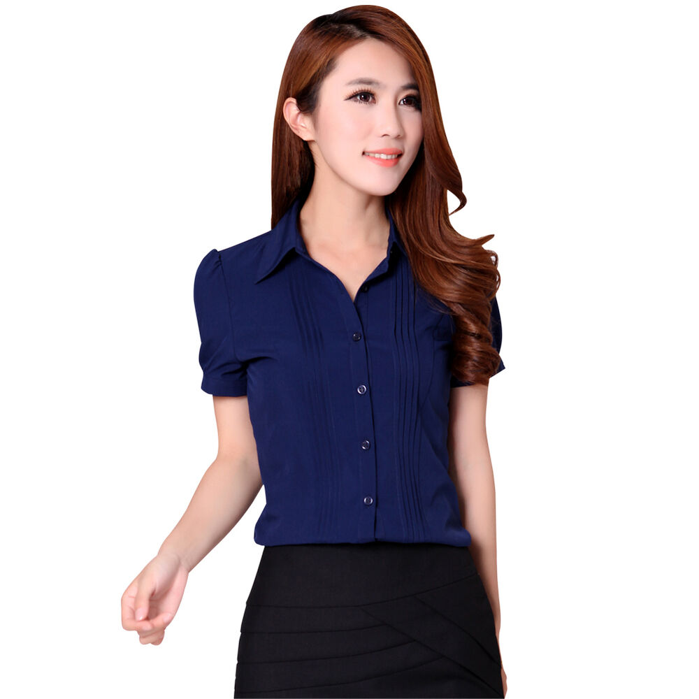 Hot womens short sleeve slim fit lapel tops chic ol for Women s sunscreen shirts