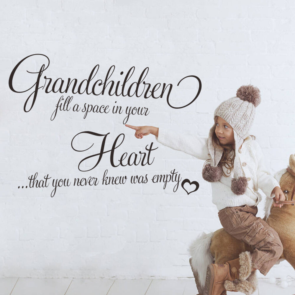 Grandchildren Fill A Space Heart Vinyl Wall Quote Decal