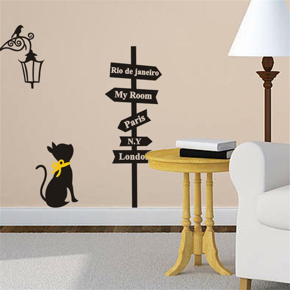 From Seword Wall Art Vinyl Lettering Home Decor ~ Black cat road sign wall sticker decals home decor vinyl